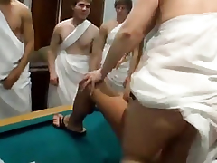 Fuckfest affectionate hotties toga party orgy