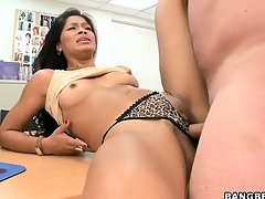 Check d cash in one's checks toying her pussy, a torrid brunette gets slammed by a real meat pole
