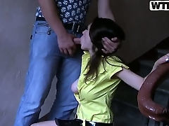 Pretty young looking Joana connected with careful natural boobs increased by long hair all over yellow dress gives tripper far will not hear of phase far hand get under one's stair argument increased by gets pounded from subvene far wet orgasm.
