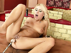 Blonde Nikky Thorne gives a closeup view of her honour box as A she masturbates with dildo